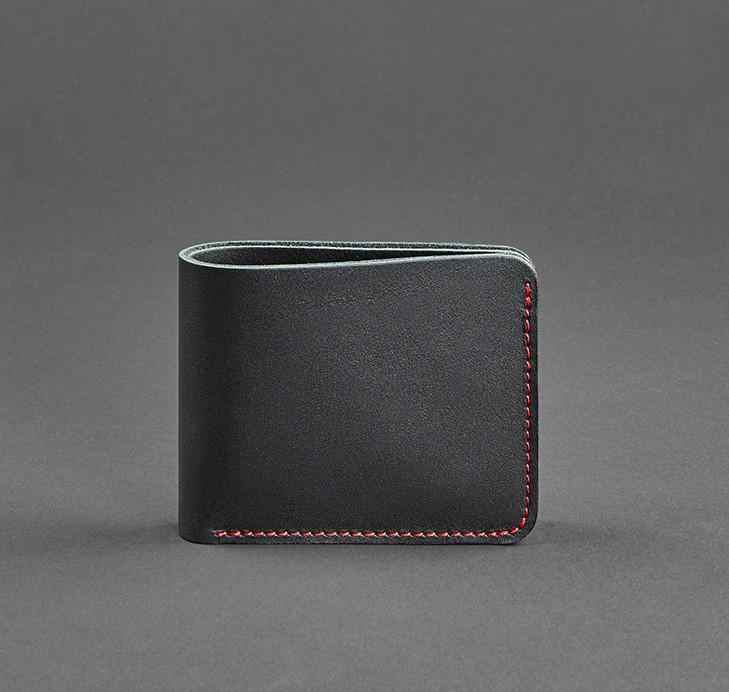 Купюрник кожаный мужской карты черный с красной строчкой (ручная работа)