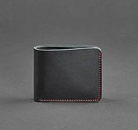 Купюрник кожаный мужской карты черный с красной строчкой (ручная работа), фото 1