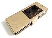 Чехол книжка с окошком momax для Nokia 515 золотой