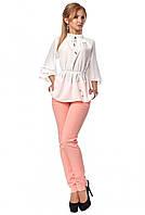 a35c095e801 Женский брючный костюм  розовые брюки и блуза молочного цвета. Модель 666