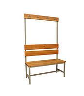 Скамейка для раздевалки, с спинкой и вешалкой с крючками, односторонняя