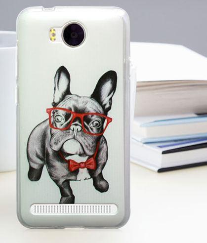 Бампер силиконовый для Huawei Y3ii с картинкой бульдог