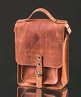 Кожаная сумка-почтальон Bern | Винтажный Коньяк