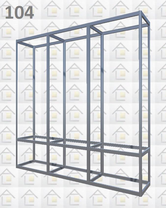 Конструктор (каркас) витрины № 104 из алюминиевого профиля (2578)1449,2576,2721