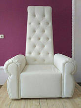 Кресло Трон для педикюра  с пуговицами, белый