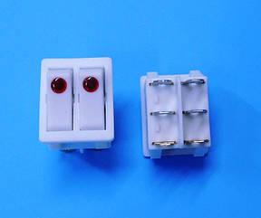 Переключатель двойной вкл/выкл 16 А с подсветкой белый