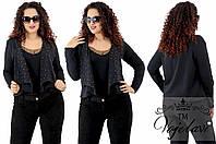 Женский пиджак батал + стразы DMS декорированные жемчугом 48-52
