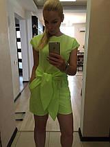 """Летний женский комбинезон-шорты """"DEFO"""" с карманами и коротким рукавом (3 цвета), фото 3"""