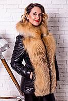 Утепленная Куртка-Жилетка с Мехом Лисы 0113КЖТ