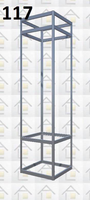 Конструктор (каркас) витрины № 117 из алюминиевого профиля (2578)1449,2576,2721