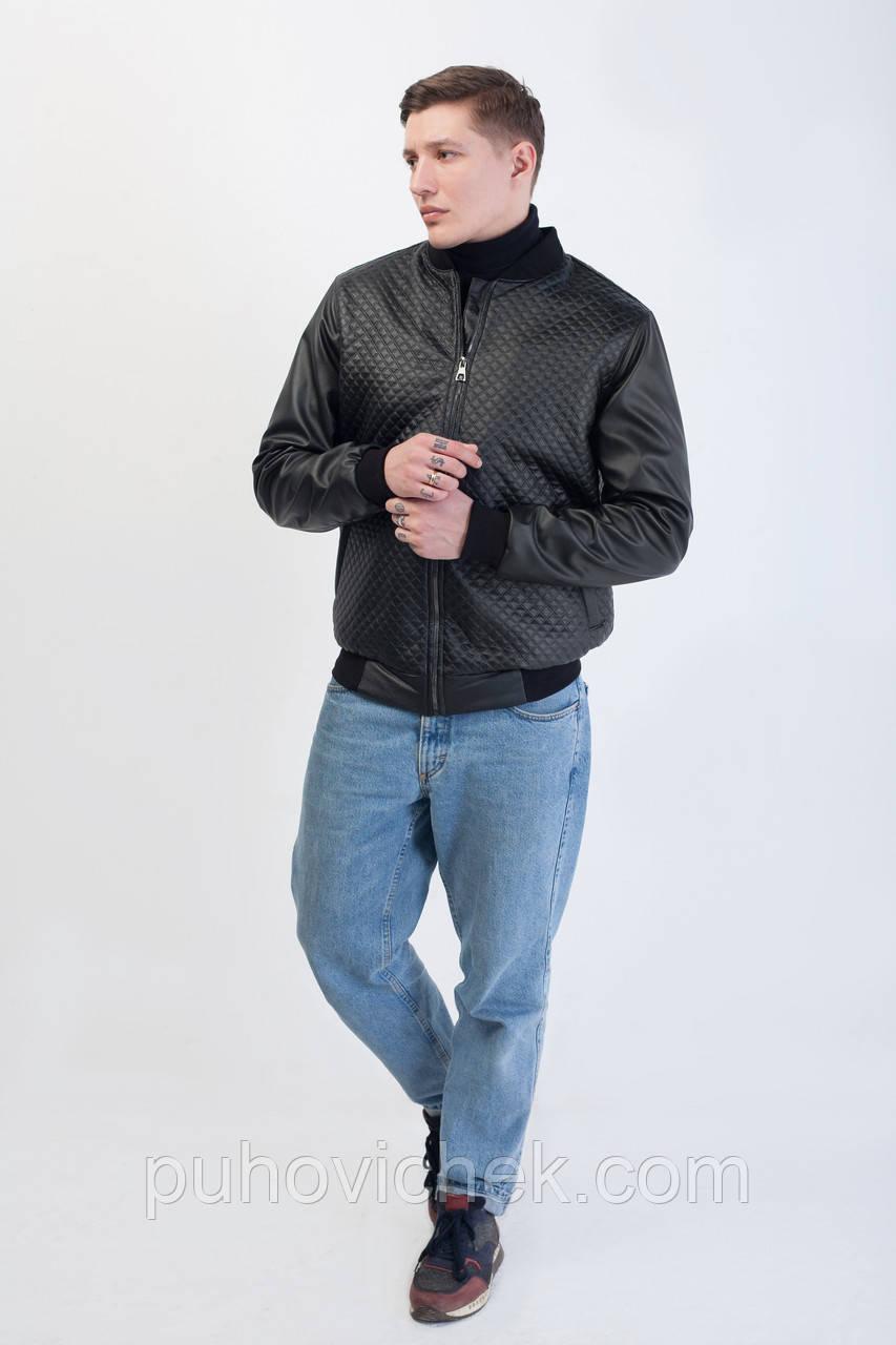 Модная мужская куртка молодежная короткая  кожа