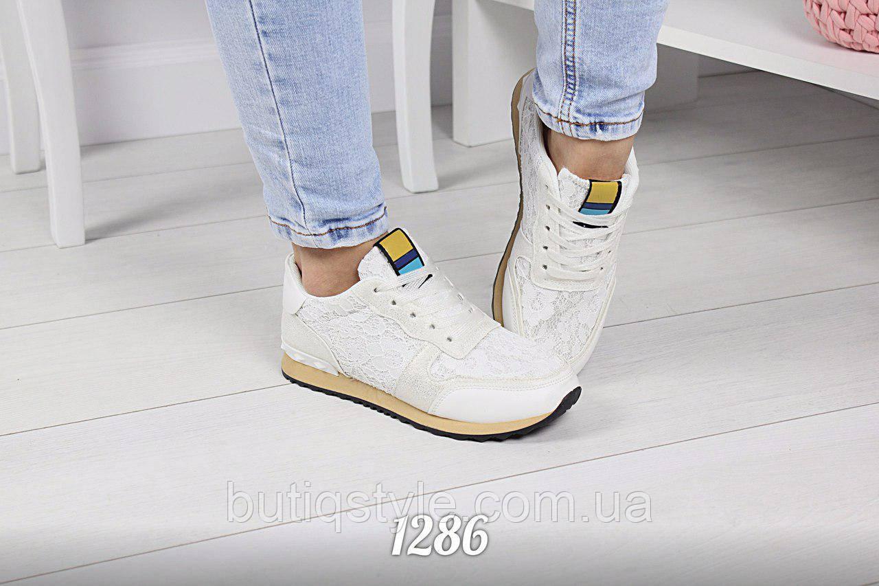 36, 39 размер! Кроссовки белые Val_no экокожа с кружевом