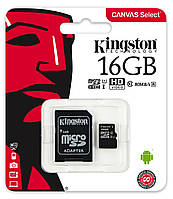 Карта памяти Kingston 16GB microSDHC UHS-I Canvas Select 80R class 10+SD Adapter