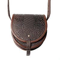 Женская кожаная сумка ручной работы полукруглая, фото 1