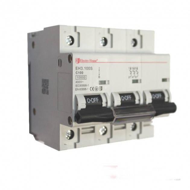Автоматический выключатель Electro House EH-3.80  (3 полюса 80А)силовой