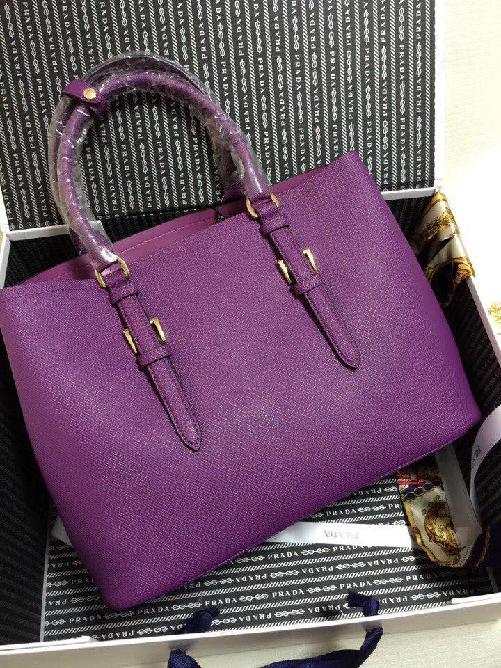 5f39fa00e77e ... Сумка Прада модель Double 35 см натуральная кожа цвет фиолетовый, ...
