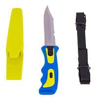 Нож для дайвинга, подводной охоты, желто-синий, 102