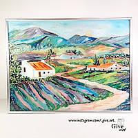 Картина яркая подарок витраж на стеле Прованс лавандовые поля пейзаж