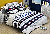 Полуторный комплект постельного белья 150х220 из бязи Голд Полоса синяя