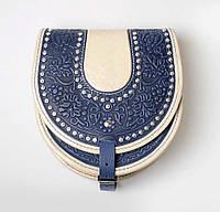 Кожаная сумка ручной работы, Сумка полукруглая с металлом, фото 1
