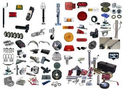 Комплектующие к прицепам (замки, крылья, амортизаторы, ступицы, фонари, светоотражатели)