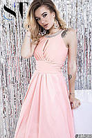 Розовое платье в пол с юбкой клеш