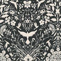 """Ткань для пэчворка и рукоделия американский хлопок """"Орнамент с птицами белый на сером"""" - 30*55 см"""