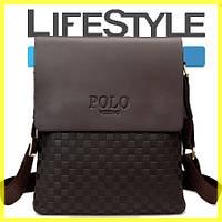 Мужская кожаная сумка Polo Videng New Прямоугольная, Коричневый