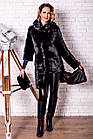 Шуба Норковая 90 см Черная С Капюшоном 0320ЕИШ, фото 5