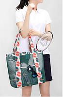Сумочка летняя для пляжа прорезиненная зеленая ( сумка через плечо )