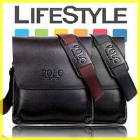 Стильная брендовая мужская кожаная сумка Polo! + Подарок!