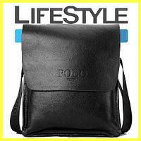 Стильная брендовая мужская кожаная сумка Polo! + Подарок! черний