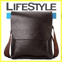 Стильная брендовая мужская кожаная сумка Polo! + Подарок! коричневый