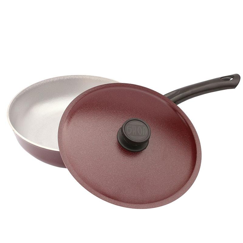 Сковорода с ровным дном и крышкой Ø22см Биол