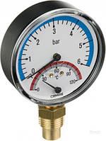 Термоманометр 6 (4) bar / 120C радиальный с обратным клапаном Cewal  (Италия)
