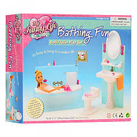 Детская игровая мебель 2820, ванная комната, ванна, умывальник, унитаз, аксессуары, в коробке, 26-21, 5-7, 5см