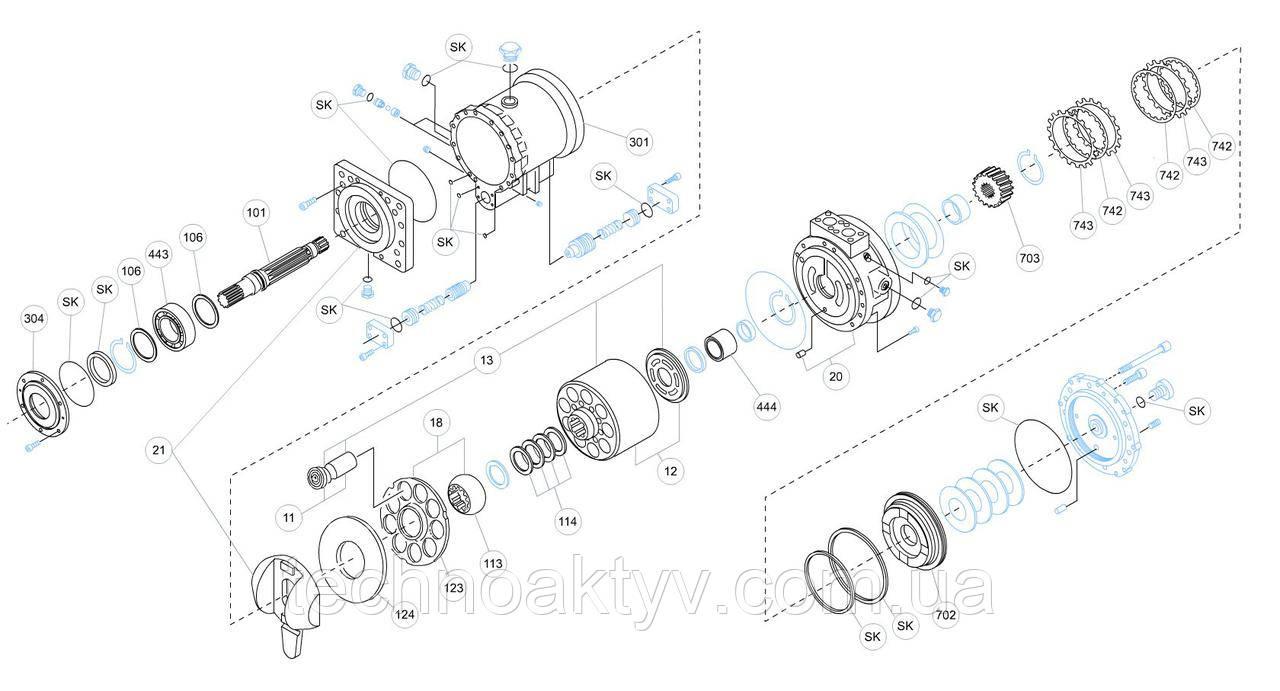 Гидромотор Kawasaki MB - MB750AR-10N-04M-434-MRD-4A225-KDC30MR и его комплектующие