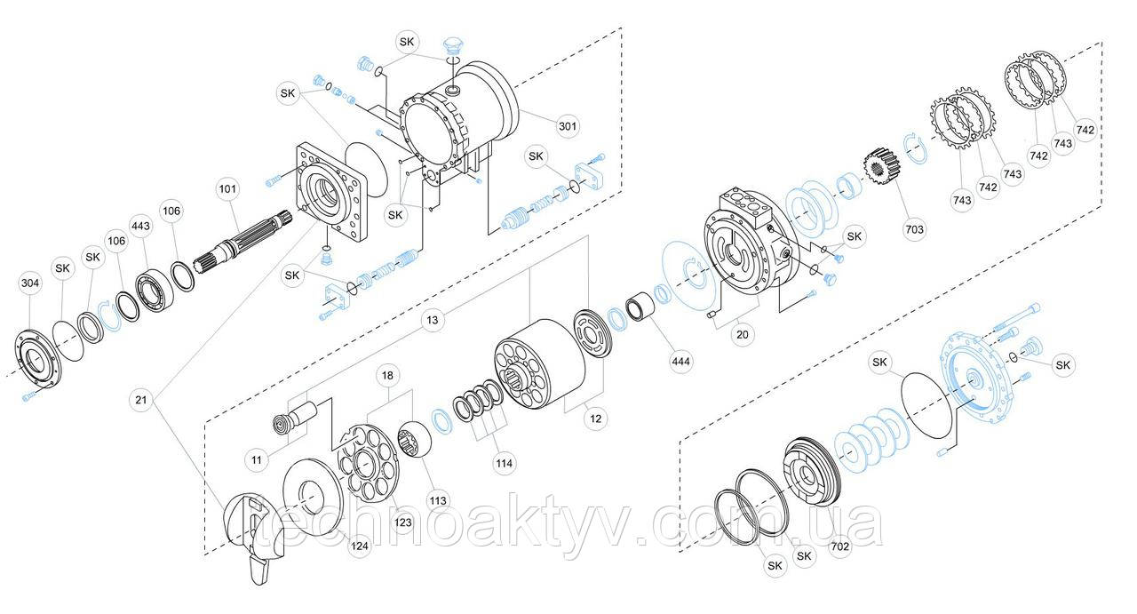 Гидромотор Kawasaki MB - MB750AR-10N-03M-434-MRD-4A160-KDC30MR и его комплектующие