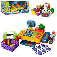 Кассовый аппарат детский 7018-UA, калькулятор, микрофон, сканер, звук(укр), свет, продукты, на бат-ке.
