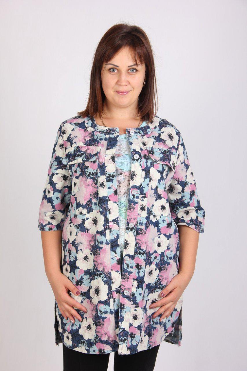 Кардиган с цветочным принтом из легкой летней джинсовой ткани