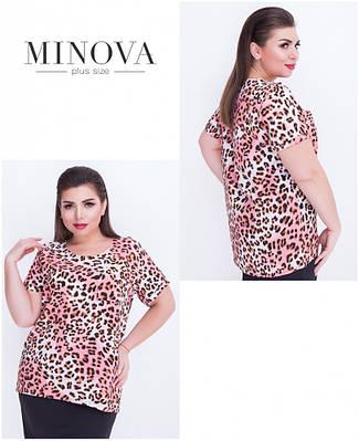 Блуза леопардовый принт 52-56
