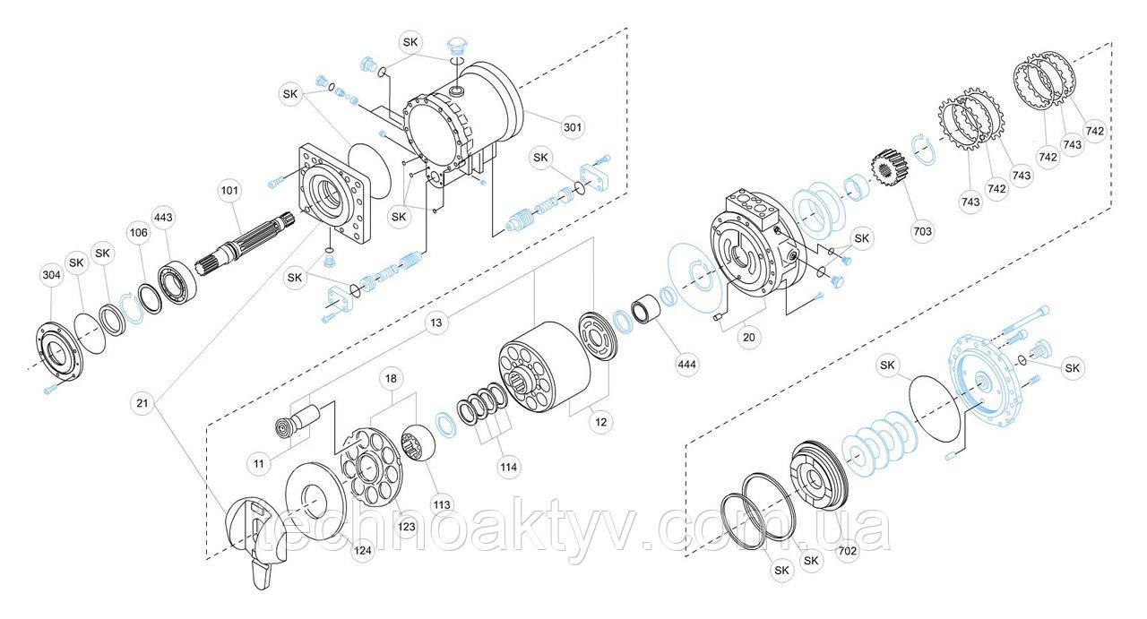 Гидромотор Kawasaki MB - MB500AR-20N-04M-242-MRD-1A-RG10S57D3 и его комплектующие