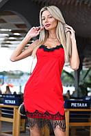 Откровенное платье комбинация с кружевом на тонких бретелях красное