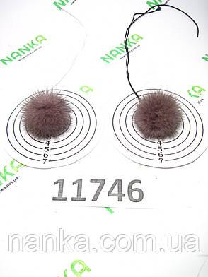Меховой помпон Норка, Лавандовый, 4 см, пара 11746, фото 2