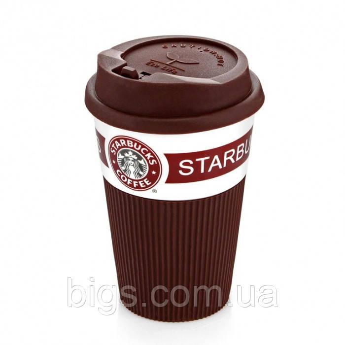Керамическая Кружка с крышкой коричневая 350 мл Starbucks ( термостакан Старбакс )