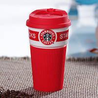 Керамический Стакан с крышкой красный 350 мл Starbucks ( термостакан Старбакс )