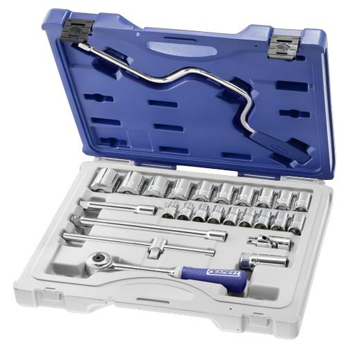 """Набор инструментов 1/2"""" 26 ед. (головки: 10-24, 27, 28, 30, 34 мм, трещотка, 2 удлинителя, вороток, Stanley Expert E032943"""
