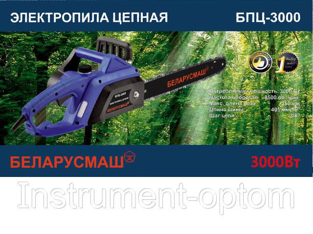 Пила цепная электрическая Беларусмаш БПЦ-3000 (2 шины, 2 цепи) + масло