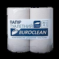 """Бумага туалетная макулатурная """"Buroclean"""", 4 рулона, на гильзе, двухслойная, серая"""