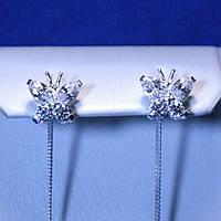 Сережки ланцюжки-протяжки зі срібла Метелики 5244-ц бел